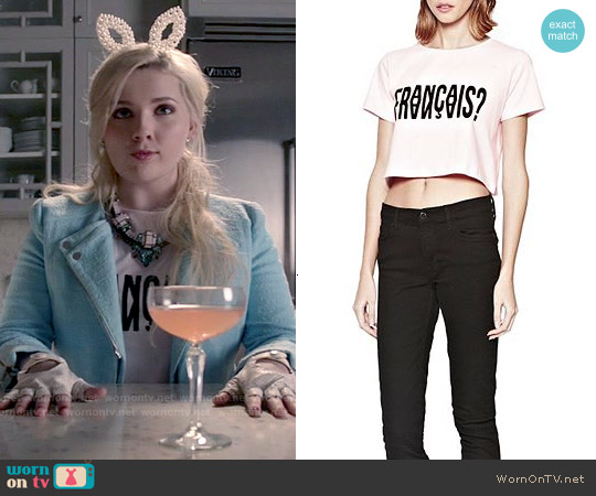 French Connection Francais Cropped T-Shirt worn by Abigail Breslin on Scream Queens