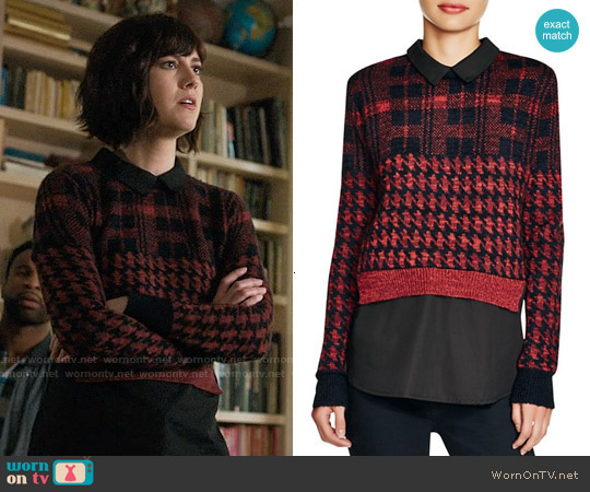 French Connection Layered Effect Printed Sweater worn by Mary Elizabeth Winstead on BrainDead