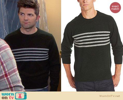 GANT by Michael Bastian Five Stripe Sweater in Deep Forest worn by Adam Scott on Parks & Rec