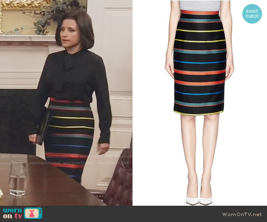 Givenchy Basket Weave Stripe Pencil Skirt worn by Julia Louis-Dreyfus on Veep