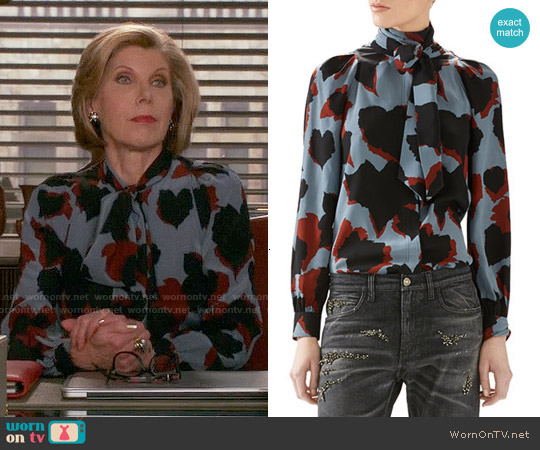 Gucci Leaves Print Silk Shirt worn by Christine Baranski on The Good Wife