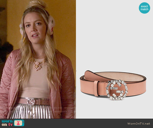 Gucci Pink Leather Belt with Crystal Interlocking G Buckle worn by Billie Lourd on Scream Queens