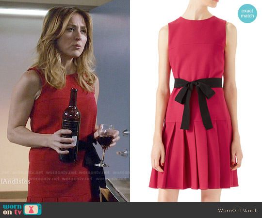 Gucci Pleated Wool and Silk-Blend Dress worn by Sasha Alexander on Rizzoli & Isles
