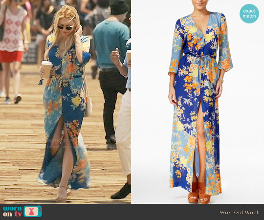 Guess Constanze Printed Bell-Sleeve Maxi Dress worn by Tabrett Bethell on Mistresses