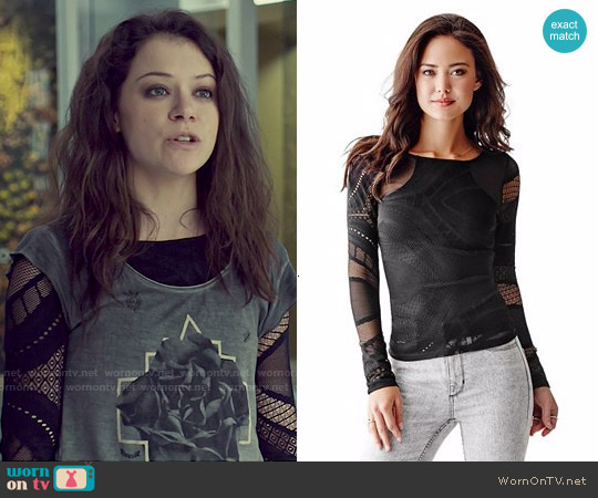 Guess Long Sleeve Patterned Mesh Top worn by Sarah Manning on Orphan Black