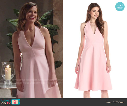 Halston Heritage Sleeveless Deep V Neck Crop Midi Dress worn by Melissa Claire Egan on The Young & the Restless