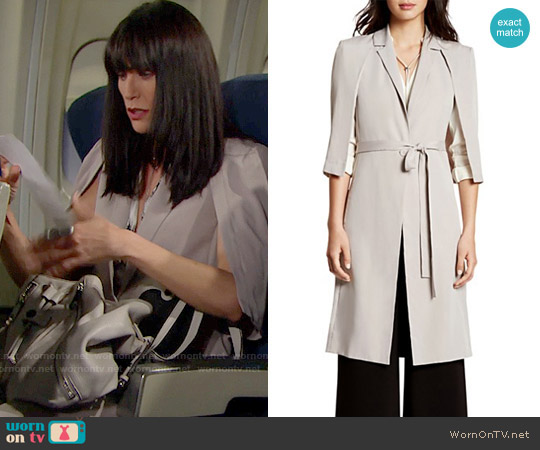 Halston Heritage Cape Trench Coat worn by Rena Sofer on The Bold & the Beautiful