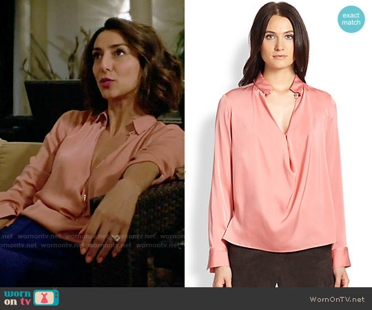 Halston Heritage Silk Cowl-Front Blouse worn by Necar Zadegan on GG2D