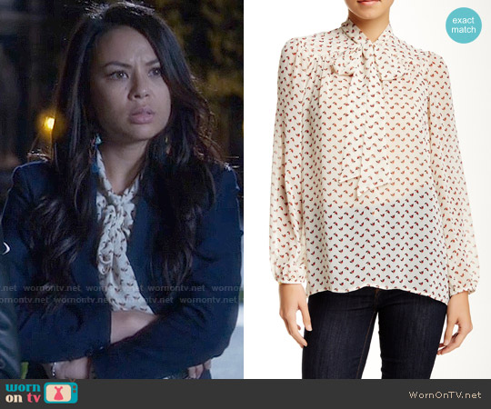 Harlow & Graham  Long Sleeve Tie Neck Woven Blouse in Ecru Bird worn by Janel Parrish on PLL