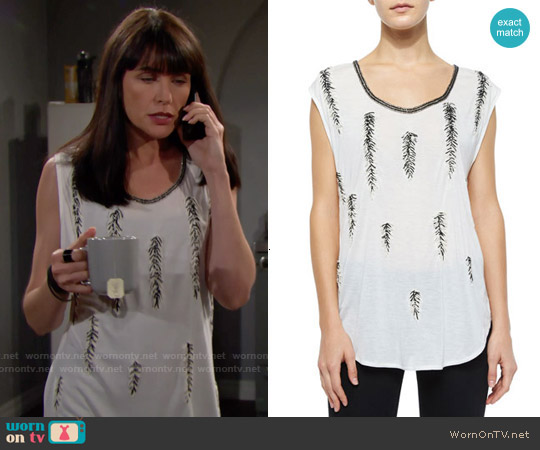 Haute Hippie Feather-Embellished Dagger Tee worn by Rena Sofer on The Bold & the Beautiful