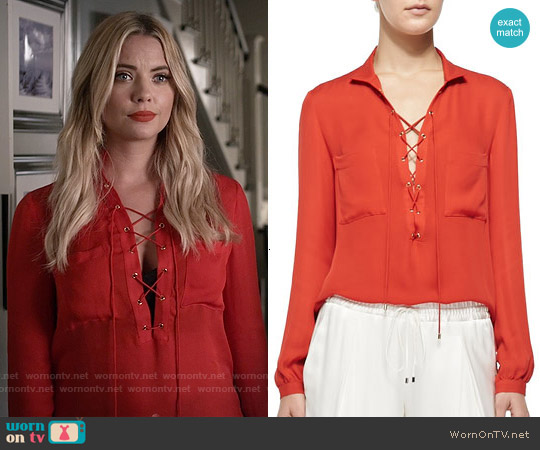 Haute Hippie Silk Lace-up Neck Blouse worn by Ashley Benson on PLL