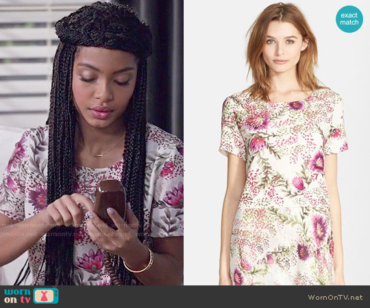 Haute Hippie Wildflower Print Crop Top worn by Yara Shahidi on Blackish