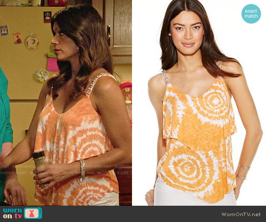 INC International Concepts Embellished Tie-Dye Tank Top worn by Andrea Navedo on Jane the Virgin