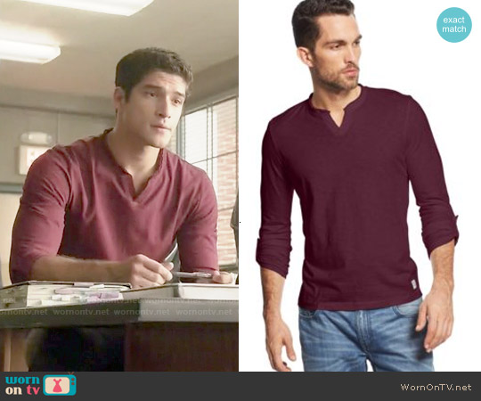 INC International Concepts Modicum Split-Neck T-Shirt worn by Tyler Posey on Teen Wolf
