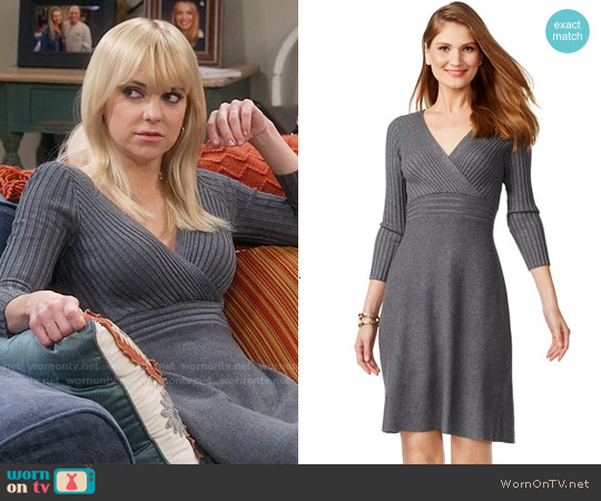 INC International Concepts Ribbed-Contrast Sweater Dress worn by Anna Faris on Mom