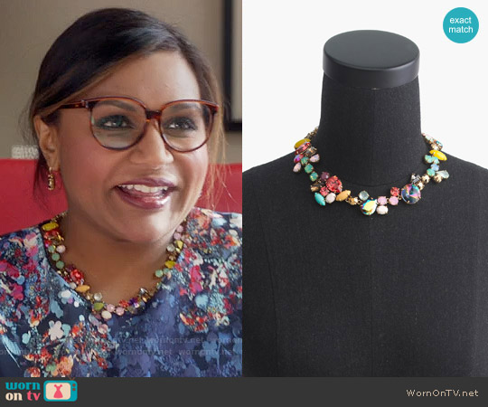 J. Crew Crystal Foliage Necklace worn by Mindy Lahiri on The Mindy Project