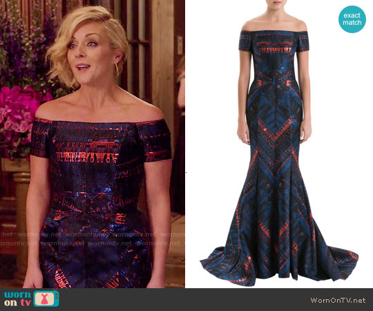 J Mendel Off The Shoulder Lurex Jacquard Gown worn by Jane Krakowski on Unbreakable Kimmy Schmidt