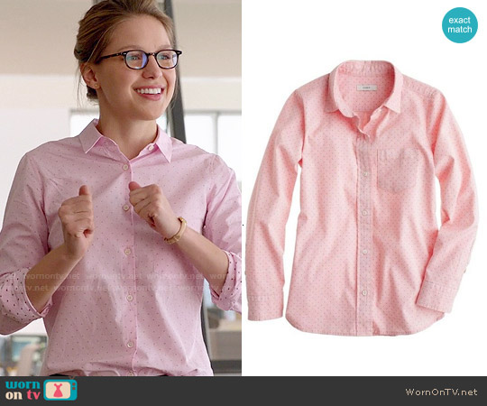 J. Crew Shrunken Shirt in Oxford Dot worn by Melissa Benoist on Supergirl