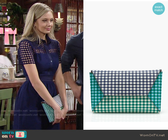 J. Crew Envelope Clutch in Gingham Patchwork worn by Abby Newman on The Young & the Restless
