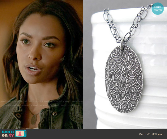 JenniferCasady Pendant Oval Necklace worn by Kat Graham on The Vampire Diaries