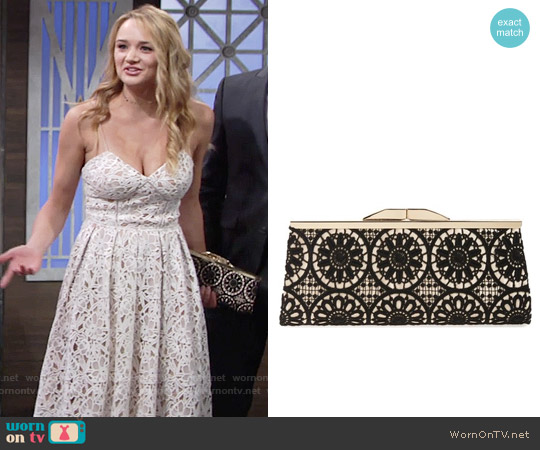 Jessica McClintock 'Sloan' Floral Lace Clutch worn by Summer Newman on The Young & the Restless