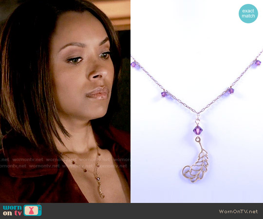 JewelryFX Amethyst Necklace with Filigree Accent worn by Bonnie Bennett on The Vampire Diaries