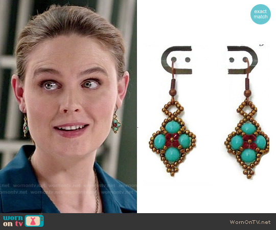 Jewelsforhope Turquoise Diamond Shaped  Earrings worn by Emily Deschanel on Bones