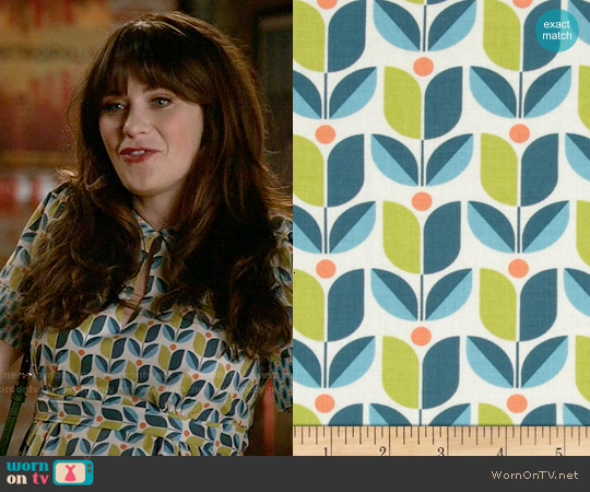 Joel Dewberry Flora Tulip Eucalyptus Fabric Dress worn by Zooey Deschanel on New Girl