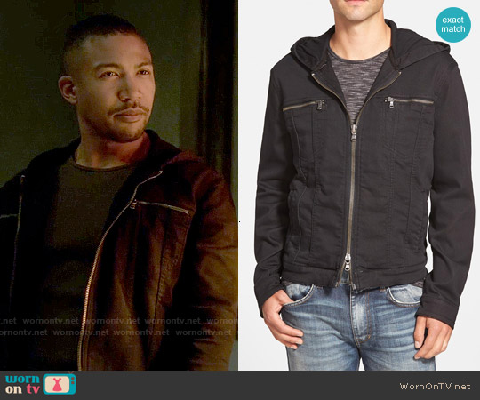 John Varvatos Star USA Hooded Denim Jacket worn by Charles Michael Davis on The Originals