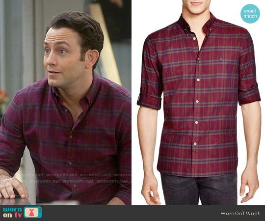 John Varvatos Plaid Slim Fit Button Down Shirt worn by Jonathan Sadowski on Young & Hungry