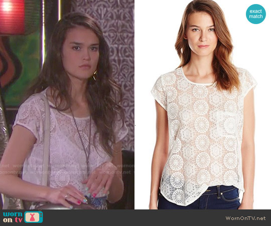 Joie 'Dalliance' Geometric Mesh Blouse by worn by True O'Brien on Days of our Lives
