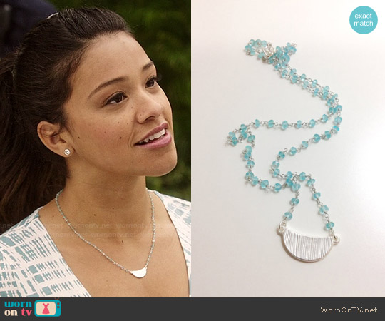 JulieEllynDesigns Necklace with Silver Crescent Pendant worn by Jane Villanueva on Jane the Virgin