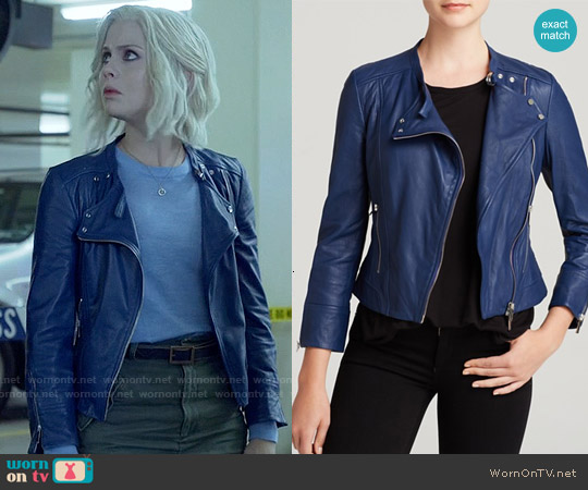 Karen Millen Blue Biker Jacket worn by Rose McIver on iZombie