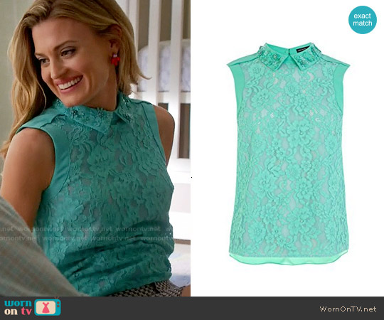 Karen Millen Top with Hand Embellished Collar worn by Brooke D'Orsay on Royal Pains