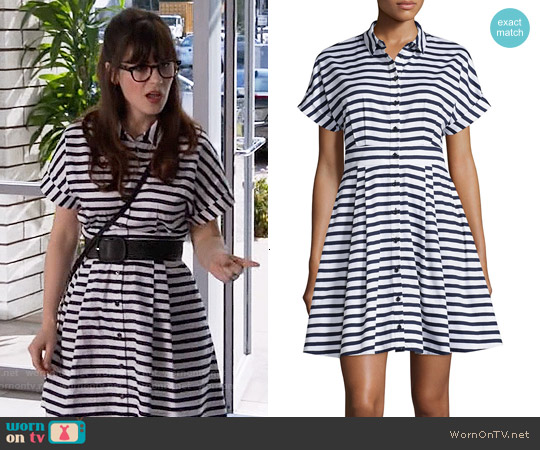Kate Spade Short Sleeved Striped Fit & Flare Shirtdress worn by Zooey Deschanel on New Girl