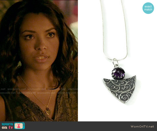 KimJakumDesigns Silver Gemstone Necklace worn by Bonnie Bennett on The Vampire Diaries