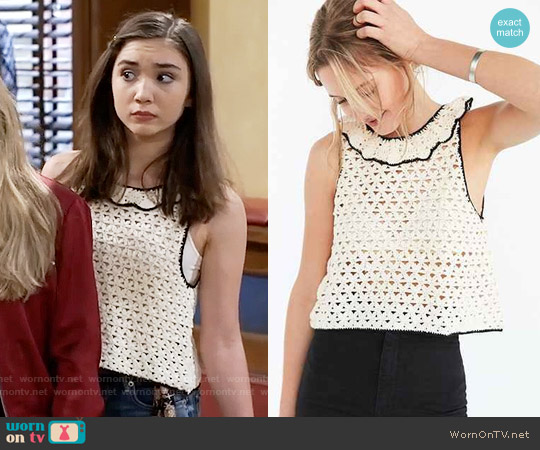 Kimchi Blue Crochet Ruffle-Neck Sweater worn by Rowan Blanchard on Girl Meets World
