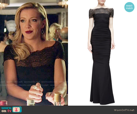 La Petite Robe di Chiara Boni Nasir Lace-Bodice Mermaid Gown worn by Katie Cassidy on Arrow