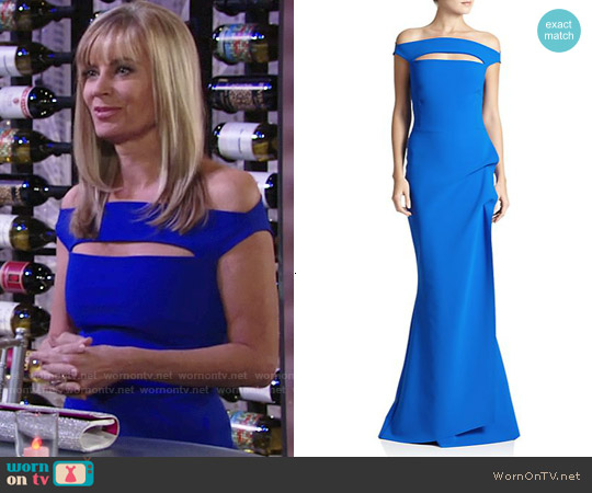 La Petite Robe di Chiara Boni 'Melania' Off-The-Shoulder Gown in Cobalt worn by Eileen Davidson on The Young & the Restless
