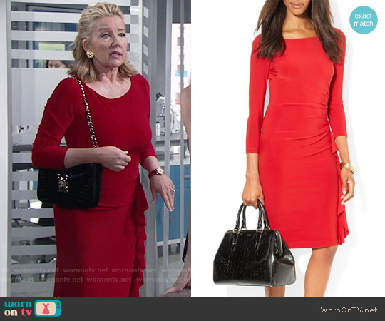 LAUREN Ralph Lauren Boat Neck Matte Jersey Ruffle Detail worn by Melody Thomas-Scott on The Young & the Restless