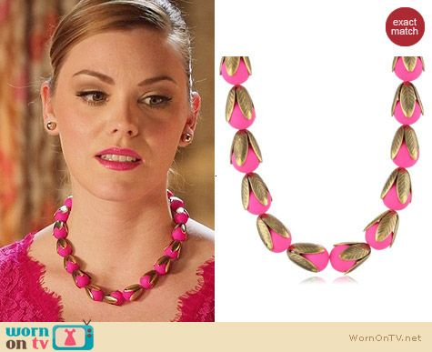 Lenora Dame Nostalgic Neon Necklace in Pink worn by AnnaBeth Nass on Hart of Dixie