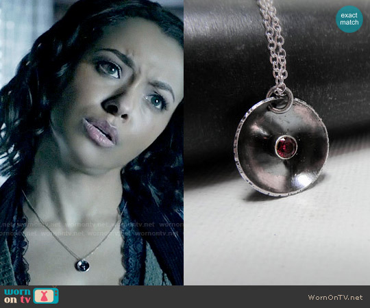 LittleHillJewelry Oxidized Silver Ruby Pendant Necklace worn by Bonnie Bennett on The Vampire Diaries