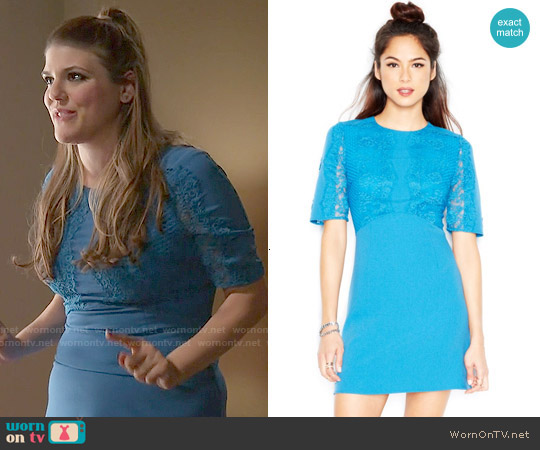 MADE Fashion Week Elbow Sleeve Lace Overlay Dress worn by Molly Tarlov on Awkward
