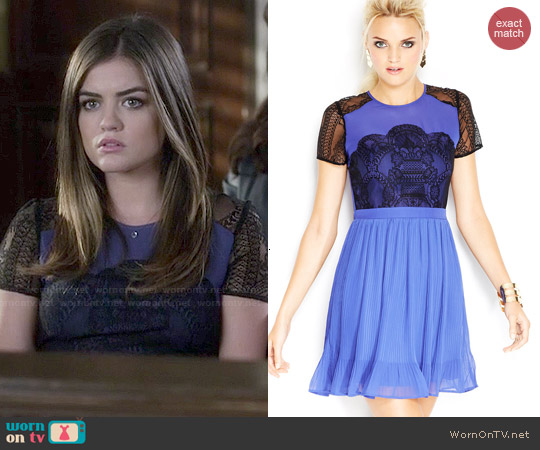 MADE Fashion Week for Impulse Short-Sleeve High-Neck Lace-Inset Dress worn by Lucy Hale on PLL