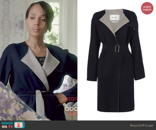 MaxMara Giunchi wool stretch wrap coat worn by Kerry Washington on Scandal