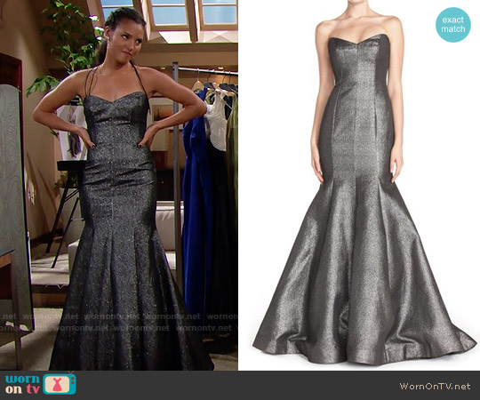ML Monique Lhuillier Strapless Metallic Mermaid Gown worn by Felisha Cooper on The Bold & the Beautiful