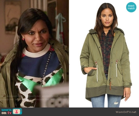 Maison Scotch Bomber Parka worn by Mindy Lahiri on The Mindy Project