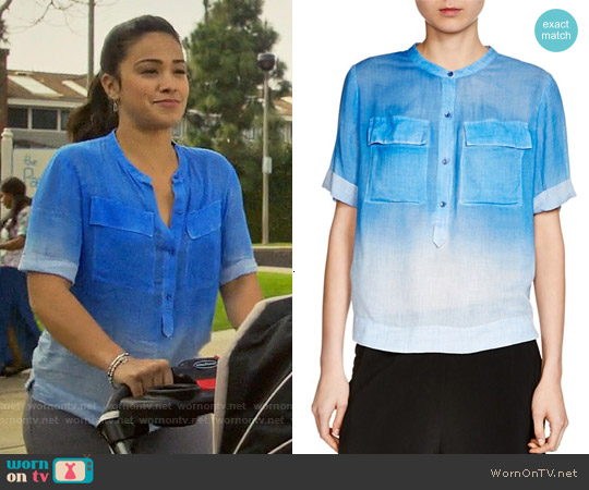 Maje Cocotte Ombré Shirt worn by Gina Rodriguez on Jane the Virgin