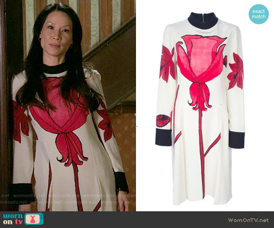 Marni Floral print crepe dress worn by Lucy Liu on Elementary