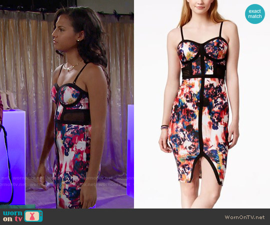 Material Girl Printed Illusion Bodycon Dress worn by Felisha Cooper on The Bold & the Beautiful